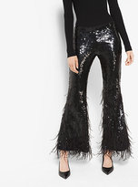 Michael Kors Sequin And Feather-Embroidered Stretch-Tulle Pants