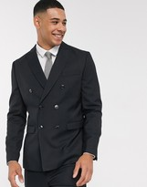 Jack and Jones slim fit double breasted wool mix suit jacket in black