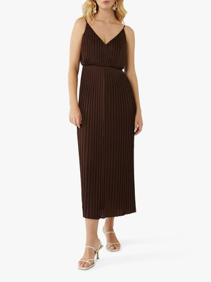 Warehouse Satin Pleated Midi Dress, Choc