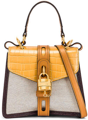 Chloé Small Aby Embossed Croc and Canvas Shoulder Bag in Honey Gold | FWRD