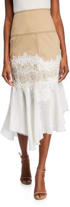Alexis Beretti High-Rise Linen Combo Midi Skirt