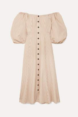 Mara Hoffman Net Sustain Mika Off-the-shoulder Tencel And Linen-blend Midi Dress - Neutral