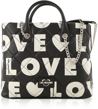 Love Moschino Black And White Signature Print Eco- Leather Tote Bag