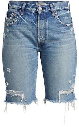 Moussy Trosper High-Rise Denim Bermuda Shorts
