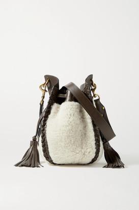 Isabel Marant Radja Whipstitched Leather-trimmed Shearling Bucket Bag - Ecru