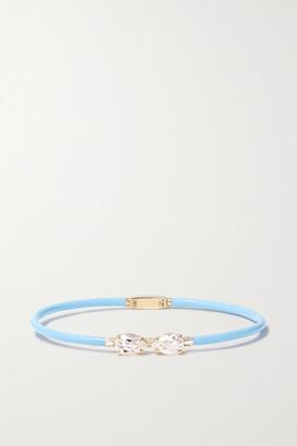 BEA BONGIASCA Vine 9-karat Gold, Enamel And Rock Crystal Bracelet - Light blue