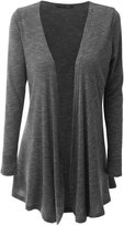 Aecibzo Women's Open Front Long Sleeve Jersey Cardigan (3XL, )