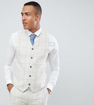 Gianni Feraud TALL Skinny Fit Wedding Windowpane Check Suit vest-Cream