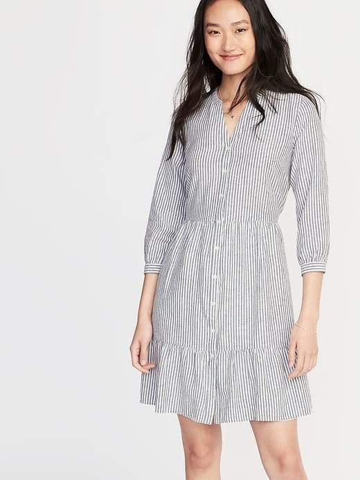 Old Navy Waist-Defined Striped Shirt Dress for Women