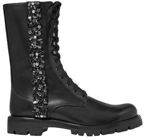 Rene Caovilla Rene' Caovilla Kadesha Crystal-embellished Glossed-leather Ankle Boots