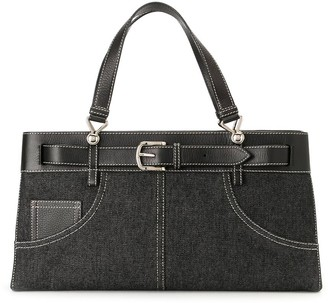 Christian Dior Pre-Owned Belted Denim Tote Bag