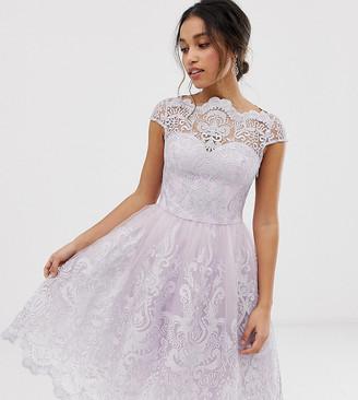 Chi Chi London premium lace midi skater dress in pink