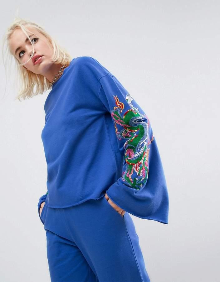 Dragon Optical Asos Design ASOS Sweatshirt with Embroidery Sleeve Co-ord