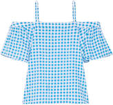 Draper James Cold-shoulder Gingham Cotton And Silk-blend Top - Azure