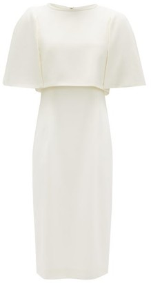 Goat Cape-bodice Wool-crepe Dress - Ivory