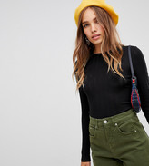 New Look crew neck top with rib in black