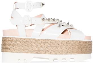 Simone Rocha Embellished-Strap Espadrille 80mm Flatform Sandals