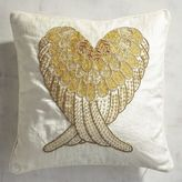 Pier 1 Imports Gold Beaded Wing Heart Pillow