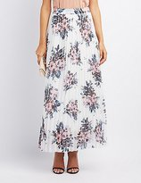 Charlotte Russe Floral Pleated Maxi Skirt