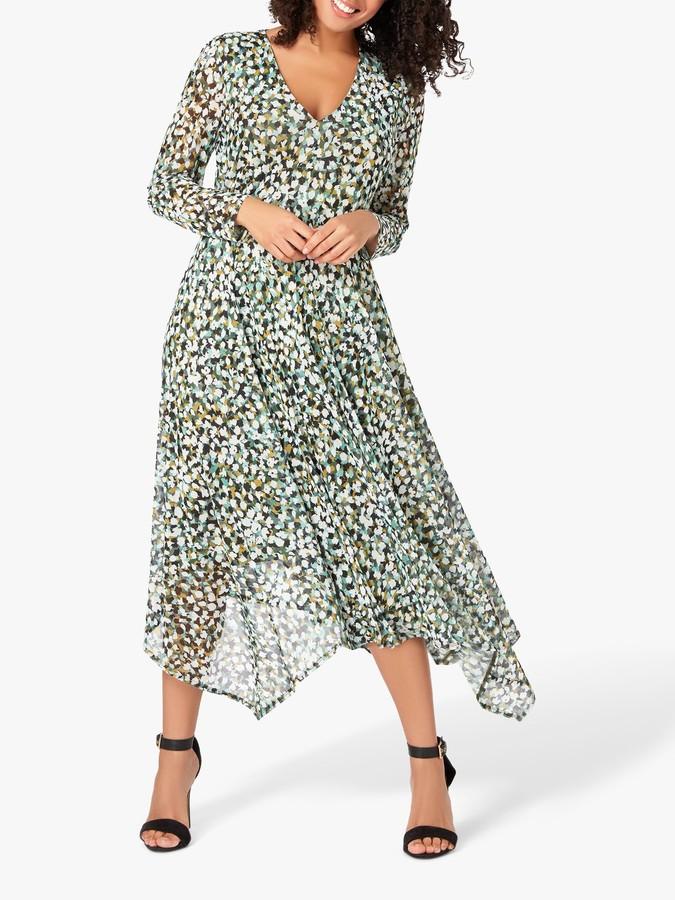 Live Unlimited Curve Olive Mesh Floral Print Midi Dress, Green