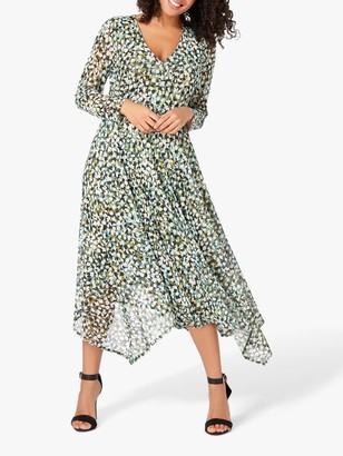 Live Unlimited Curve Olive Mesh Floral Print Midi Dress, Green