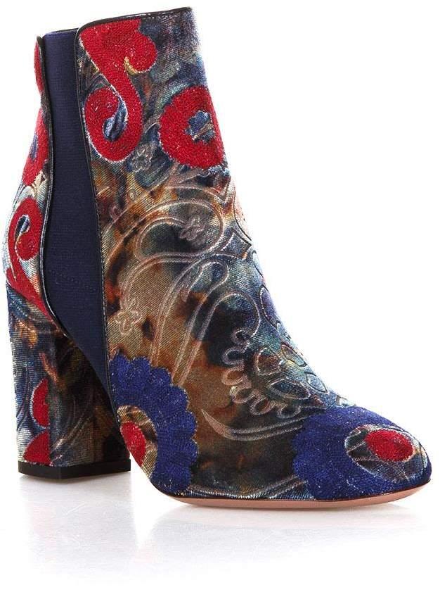 Aquazzura Kaia Multicolor Velvet Ankle Boots