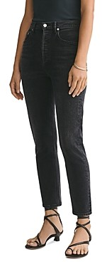 AGOLDE Riley High-Rise Ankle Straight Jeans in Black Pepper