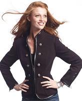 INC International Concepts Petite Jacket, Faux-Leather-Trim Military