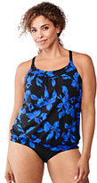 Classic Women's Plus Size Beach Living Blouson Tankini Top-Black Tossed Blossoms