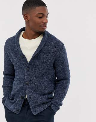 Selected organic cotton knitted shawl cardigan in navy