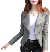 CLJJ7 Women's Slim Long Sleeve Faux Leather Moto Biker Short Jacket