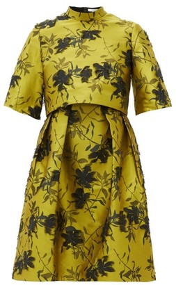 Erdem Favilla Fil-coupe Floral-jacquard Dress - Womens - Yellow