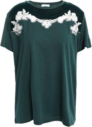 Sandro Guipure Lace-trimmed Cotton-blend Velvet T-shirt