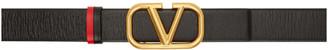 Valentino Black and Red Garavani VLogo Belt