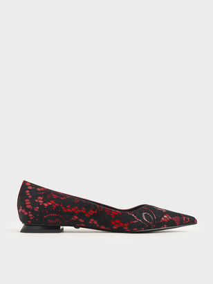 Charles & Keith Patent Leather Lace Ballerina Flats