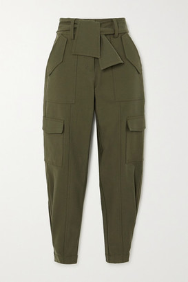Derek Lam 10 Crosby Elian Cropped Belted Cotton-blend Twill Tapered Pants - Army green