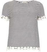 **Poppy Lux Navy 'Raina' Stripe Lace Tee