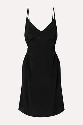Rokh Cutout Crepe De Chine Mini Dress - Black