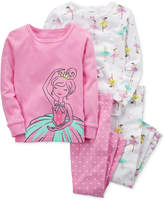 Carter's 4-Pc. Ballerina-Print Cotton Pajamas, Baby Girls