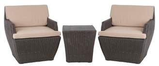 Cubo Fire Sense Bel 3pc Square All-Weather Wicker Patio Chat Set - Brown