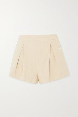 Off-White Embellished Pleated Pinstriped Cotton-blend Shorts - Beige