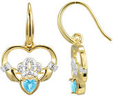 JCPenney FINE JEWELRY Heart-Shaped Genuine Blue Topaz and Diamond-Accent Claddagh Earrings