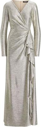 Ralph Lauren Metallic Ruffle-Trim Gown