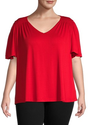 Bobeau Plus Flutter-Sleeve Top