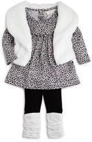 Miniclasix Infant Girls' Leopard Print Top, Faux Fur Vest & Leggings Set - Sizes 3-24 Months