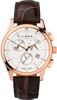 Links of London 6020.1159 Regent Chronograph rose gold plated stainless steel and leather watch