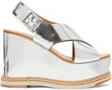 Flamingos Silver Mirror Trendy Wedge Sandals