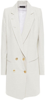 Ann Demeulemeester Double-breasted Cotton And Linen-blend Drill Coat