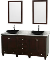 WYNDHAM COLLECTION Acclaim 72 inch Double Bathroom Vanity with WhiteCarrera Marble Countertop and Arista Black GraniteSinks