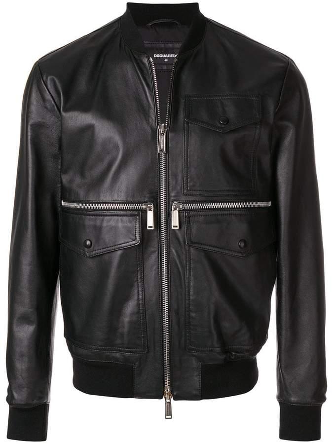 DSQUARED2 pocket leather jacket